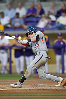 Auburn Tigers second baseman Jordan Ebert #23 swings against the LSU Tigers in the NCAA baseball game on March 22nd, 2013 at Alex Box Stadium in Baton Rouge, Louisiana. LSU defeated Auburn 9-4. (Andrew Woolley/Four Seam Images).