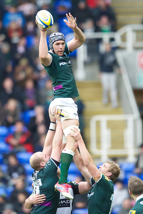 Bryn Evans of London Irish secures the lineout ball during the Aviva Premiership match between London Irish and Harlequins at the Madejski Stadium on Sunday 28th October 2012 (Photo by Rob Munro)