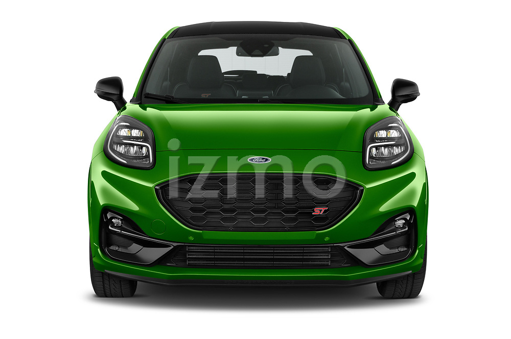 Car photography straight front view of a 2021 Ford Puma ST 5 Door SUV Front View