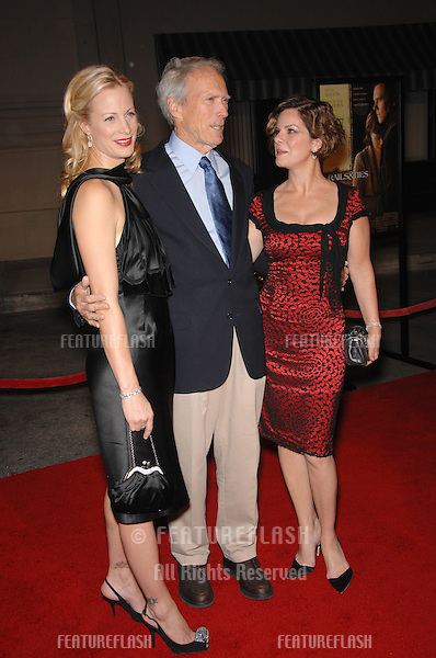 """Clint Eastwood with daughter Alison Eastwood (left) & actress Marcia Gay Harden at the Los Angeles premiere of their new movie """"Rails & Ties"""" at Warner Bros. Studios, Burbank, CA..October 24, 2007  Los Angeles, CA.Picture: Paul Smith / Featureflash"""