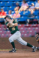 Jared Keel #15 of the Lynchburg Hillcats follows through on his swing versus the Winston-Salem Dash at Wake Forest Baseball Stadium August 29, 2009 in Winston-Salem, North Carolina. (Photo by Brian Westerholt / Four Seam Images)