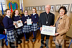 Bishop Ray Browne launches the Catholic Schools Week in the Presentation Castleisland Secondary school on Friday. <br /> Front: Bishop Ray Browne and Katherina Broderick (Principal). <br /> Back l to r: Julia Curtin, Muireann Walsh, Aine Murphy and Bláthnaid Casey.