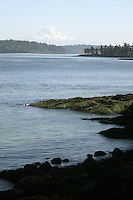 October 19, 2004:   Mt. Rainier could be seen from a distance from the beach at Manchester State Park Manchester, Washington. .