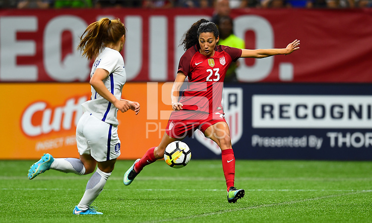 New Orleans, LA - Thursday October 19, 2017: Christen Press during an International friendly match between the Women's National teams of the United States (USA) and South Korea (KOR) at Mercedes Benz Superdome.