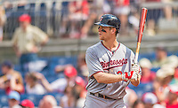 9 June 2013: Minnesota Twins first baseman Justin Morneau stands at bat against the Washington Nationals at Nationals Park in Washington, DC. The Nationals shut out the Twins 7-0 in the first game of their day/night double-header. Mandatory Credit: Ed Wolfstein Photo *** RAW (NEF) Image File Available ***