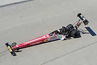 Sept. 29, 2012; Madison, IL, USA: NHRA top fuel dragster driver Doug Kalitta being towed back to the pits during qualifying for the Midwest Nationals at Gateway Motorsports Park. Mandatory Credit: Mark J. Rebilas-