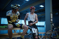 John Degenkolb (DEU/Giant-Alpecin) & Sep Vanmarcke (BEL/LottoNL-Jumbo) preparing for racing<br /> <br /> Post-Tour Criterium Mechelen (Belgium) 2016