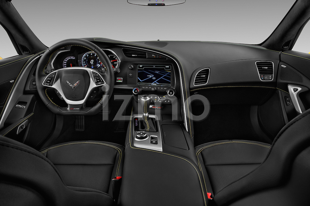 Stock photo of straight dashboard view of 2018 Chevrolet Corvette Z06-Coupe-1LZ 3 Door Targa Dashboard