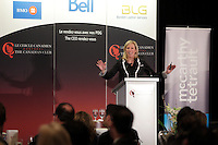 Montreal, CANADA, April 13, 2015.<br /> <br /> Melanie Dunn, President of Cossette, Quebec, delivers a speech to the Canadian Club of Montreal.<br /> <br /> PHOTO : Pierre Roussel - Agence Quebec Presse