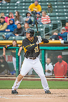 Roger Kieschnick (33) of the Salt Lake Bees at bat against the Tacoma Rainiers in Pacific Coast League action at Smith's Ballpark on May 7, 2015 in Salt Lake City, Utah.  (Stephen Smith/Four Seam Images)