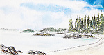 Barkley Sound, Hand Island, view south, watercolor and charcoal, Journal Art 2010,