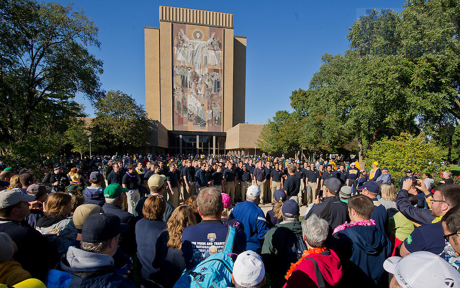 Sept. 22, 2012; The Notre Dame Glee Club performs on the Library Quad before the Michigan game...Photo by Matt Cashore/University of Notre Dame