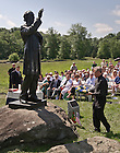 June 22, 2013; Notre Dame President Rev. John Jenkins, C.S.C. lays a wreath at the statue of former Notre Dame president Rev. William Corby, C.S.C. in Gettysburg National Military Park.<br /> <br /> Photo by Matt Cashore/University of Notre Dame