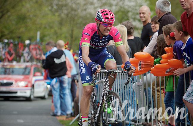 Mind the print on Rafael Valls' (ESP/Lampre-Merida) Merida bike.<br /> He should be galloping up La Redoute (1650m/9.7%) instead of riding it...<br /> <br /> 101th Liège-Bastogne-Liège 2015
