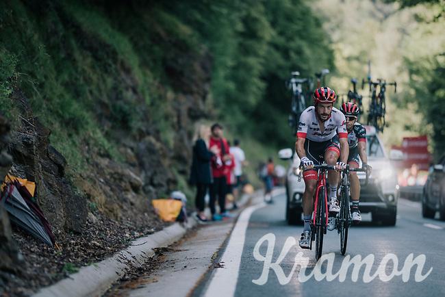 Julien Bernard (FRA/Trek-Segafredo) up the final climb of the day (in Spain!): the Col du Portillon (Cat1/1292m)<br /> <br /> Stage 16: Carcassonne > Bagnères-de-Luchon (218km)<br /> <br /> 105th Tour de France 2018<br /> ©kramon