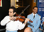 George Abud and Ari'el Stachel with David Yazbek with the Alexandria Ceremonial Police Orchestra  during 'The Band's Visit'  Post-Show Jam celebrating the 10 Time Tony Award Winning Best Musical at the Barrymore Theatre on June 12, 2018 in New York City.
