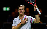 Rotterdam, The Netherlands, 13 Februari 2019, ABNAMRO World Tennis Tournament, Ahoy, Denis Shapovalov (CAN) defeats Tomas Berdych (CZE)  and shows his emotion<br /> Photo: www.tennisimages.com/Henk Koster