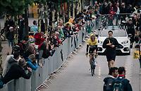 yellow jersey / GC leader Geraint Thomas (GBR/SKY) to the start<br /> <br /> 104th Tour de France 2017<br /> Stage 2 - Düsseldorf › Liège (203.5km)