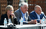 From left, Reno Mayor Hillary Schieve, Democratic governor candidate Steve Sisolak and Raiders president Marc Badain, hold a press conference in Reno, Nev., on Thursday, Aug. 16, 2018. The Raiders are considering several potential training camp locations in Reno. (Cathleen Allison/Las Vegas Review-Journal)