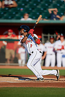 Lansing Lugnuts Otto Lopez (2) at bat during a Midwest League game against the Burlington Bees on July 18, 2019 at Cooley Law School Stadium in Lansing, Michigan.  Lansing defeated Burlington 5-4.  (Mike Janes/Four Seam Images)