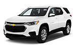 2018 Chevrolet Traverse LS 5 Door SUV angular front stock photos of front three quarter view