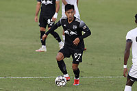 RICHMOND, VA - SEPTEMBER 30: Samad Bounthong #97 of New York Red Bulls II plays the ball during a game between North Carolina FC and New York Red Bulls II at City Stadium on September 30, 2020 in Richmond, Virginia.