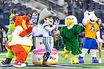 North Texas mascots  in action during the pre-season game between the Minnesota Vikings and the Dallas Cowboys at the AT & T stadium in Arlington, Texas. Minnesota defeats the Cowboys 28 to 14.