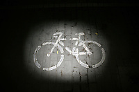 CHINA. Beijing. A bicycle sign on the pavement. 2008