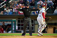 Umpire Louie Krupa signals safe during a game between the Worcester Red Sox and Rochester Red Wings on September 3, 2021 at Frontier Field in Rochester, New York.  (Mike Janes/Four Seam Images)