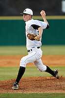 Pitcher Kevin Hickey (32) of the University of South Carolina Upstate Spartans delivers a pitchin a game against the College of Charleston Cougars on Tuesday, March 31, 2015, at Cleveland S. Harley Park in Spartanburg, South Carolina. Charleston won, 10-0. (Tom Priddy/Four Seam Images)