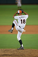 Delmarva Shorebirds relief pitcher Ruben Garcia (18) during a South Atlantic League game against the Greensboro Grasshoppers on August 21, 2019 at Arthur W. Perdue Stadium in Salisbury, Maryland.  Delmarva defeated Greensboro 1-0.  (Mike Janes/Four Seam Images)
