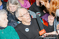 An NHPR reporter interviews audience members before Democratic presidential candidate and Massachusetts senator Elizabeth Warren speaks at Rochester Opera House in Rochester, New Hampshire, on Mon., Feb. 10, 2020. This is the final day of campaigning before voting in the primary happens on Feb. 11. Warren has fallen to 4th or 5th place in recent polls.