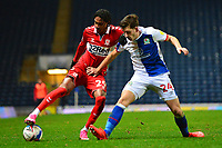 Middlesbrough's Djed Spence vies for possession with Blackburn Rovers' Joe Rankin-Costello<br /> <br /> Photographer Richard Martin-Roberts/CameraSport<br /> <br /> The EFL Sky Bet Championship - Blackburn Rovers v Middlesbrough - Tuesday 3rd November 2020 - Ewood Park - Blackburn<br /> <br /> World Copyright © 2020 CameraSport. All rights reserved. 43 Linden Ave. Countesthorpe. Leicester. England. LE8 5PG - Tel: +44 (0) 116 277 4147 - admin@camerasport.com - www.camerasport.com