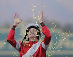 Nov. 03, 2012 - Arcadia, California, U.S -  Jockey Brian Hernandez celebrates after riding Fort Larned to win the Breeders' Cup Classic at Santa Anita Park in Arcadia, CA. (Credit Image: © Jimmy Jones/Eclipse/ZUMAPRESS.com)