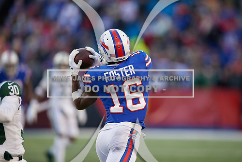 Buffalo Bills Robert Foster (16) catches a pass during an NFL football game against the New York Jets, Sunday, December 9, 2018, in Orchard Park, N.Y.  (Mike Janes Photography)