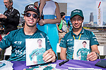 Antonio Felix da Costa of Portugal and Kamui Kobayashi of Japan from MS & AD Andretti Formula E meet racing fans at the Drivers' Autograph Session during the FIA Formula E Hong Kong E-Prix Round 1 at the Central Harbourfront Circuit on 02 December 2017 in Hong Kong, Hong Kong. Photo by Marcio Rodrigo Machado / Power Sport Images
