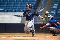 Michael Amditis (4) of Boaca Raton Community High School in Boca Raton, Florida playing for the Tampa Bay Rays scout team during the East Coast Pro Showcase on July 30, 2015 at George M. Steinbrenner Field in Tampa, Florida.  (Mike Janes/Four Seam Images)
