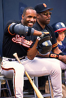 Barry Bonds of the San Francisco Giants at the Peoria Sports Complex in Peoria, Arizona during 1996 Spring Training. (Larry Goren/Four Seam Images)