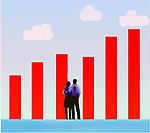Couple looking at bar graph depicting increasing finance