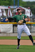 Clinton LumberKings Logan Taylor (14) throws during the Midwest League game against the Beloit Snappers at Ashford University Field on June 12, 2016 in Clinton, Iowa.  The LumberKings won 1-0.  (Dennis Hubbard/Four Seam Images)