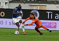 Romelu Lukaku of Inter  Ivan Provedel  during the  italian serie a soccer match,Spezia Inter Milan at  the STadio Picco in La Spezia Italy ,