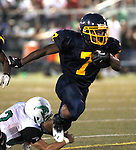 Waterbury, CT-07 September 2012-090712CM14-  Kennedy's Davon Humbles carries the ball during against Wilby during the second quarter at the City Jamboree Friday night at Municipal Stadium in Waterbury.    Christopher Massa Republican-American