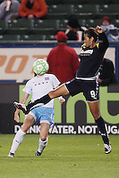 Han Duan #9 of the Los Angeles Sol attempts to control a loose ball against the Chicago Red Stars during their WPS game at The Home Depot Center on June 3,2009 in Carson, California.  The Sol and Red Stars tied 1-1.