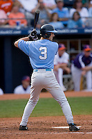 Ben Bunting #3 of the North Carolina Tar Heels at bat versus the Clemson Tigers at Durham Bulls Athletic Park May 23, 2009 in Durham, North Carolina. The Tigers defeated the Tar Heals 4-3 in 11 innings.  (Photo by Brian Westerholt / Four Seam Images)