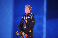 OLYMPICS: SOCHI: Medal Plaza, 09-02-2014, medaille uitreiking, 5000m Men, Jorrit Bergsma (NED), ©foto Martin de Jong