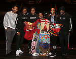 """Derrick Baskin, Ephraim Sykes, Jeremy Pope, E. Clayton Cornelious, James Harkness and Jawan M. Jackson during the Legacy Robe honoring E. Clayton Cornelious for """"Ain't Too Proud"""" at the Imperial Theatre on 3/20/2019 in New York City."""