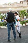 Hallandale Beach, FL- February 06:Trainer Nick Zito with pre race instructions for jockey Javier Castellano. Scenes from Donn Handicap Day at Gulfstream Park. (Photo by Arron Haggart)