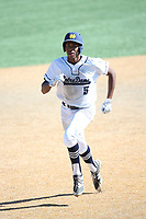 Hunter Greene (5) of the Notre Dame High School Knights runs the bases against the Harvard Westlake High School Wolverines at Notre Dame H.S. on March 31, 2017 in Sherman Oaks, California. Greene is expected to be a high first round pick in the 2017 Major League Baseball player draft on June 12. Notre Dame defeated Harvard Westlake, 2-1. (Larry Goren/Four Seam Images)