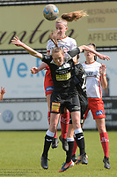 Loes Van Mullem (33) of Eendracht Aalst and Lotte De Wilde (19) of Zulte Waregem pictured during a female soccer game between Eendracht Aalst and SV Zulte Waregem on the fourth matchday of play off 2 of the 2020 - 2021 season of Belgian Scooore Womens Super League , Saturday 1 st of May 2021  in Aalst , Belgium . PHOTO SPORTPIX.BE | SPP | DIRK VUYLSTEKE