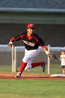 August 22 2008:  First baseman Osvaldo Morales of the Batavia Muckdogs, Class-A affiliate of the St. Louis Cardinals, during a game at Dwyer Stadium in Batavia, NY.  Photo by:  Mike Janes/Four Seam Images